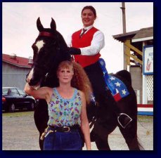 Black American Saddlebred Gelding w/Amy Deal, up